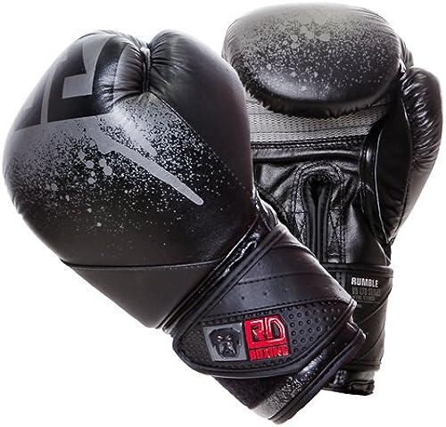 Gants de boxe rumble v5 CUIR Ltd STENCIL noir gris RD boxing