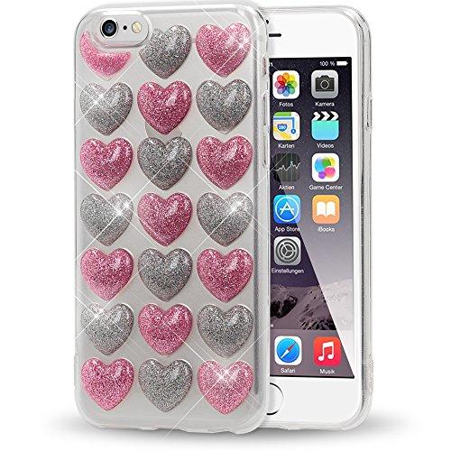 NALIA Purpurina 3D Funda Compatible con iPhone 6 6S, Corazón Silicona Carcasa Protectora Ultra-Fina Bumper Goma Cubierta, Telefono Movil Cobertura Delgado Cover Phone Case, Color:Plata Pink