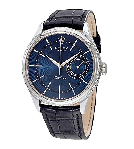 Rolex Cellini Blue Guilloche Dial Automatic Men's Leather Watch 50519BLSBLL