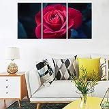gongshengwujinzhipin 3 unids/set una rosa roja en la noche lienzo decoración de la pared - alta definición paisaje imágenes pintura sobre lienzo para sala de estar blanco 12x16
