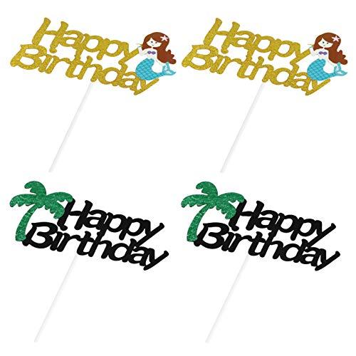 ABOOFAN 4pcs Happy Birthday Cake Toppers Glitter Cupcake Topper Ballon Mermaid Coconut tree Cupcake Picks Hawaii Birthday Party Supplies Favors