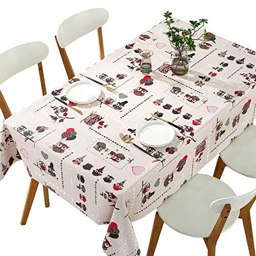Qualsen Mantel Antimanchas Rectangular Impermeable, PVC, fácil de Limpiar, Manteles Mesa Decorativo para Hogar Comedor del Cocina, búho,137 x 240 cm 🔥