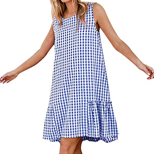 PYLOVER Women Dress Summer Casual Sleeveless O Neck Plaid Knee Length Dress Ladies Beach Wear Party Dress Blue