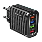 paomo Quick Charge 3.0 Chargeur USB mural 5 V/3,1 A 4 ports chargeur USB pour Samsung Galaxy...