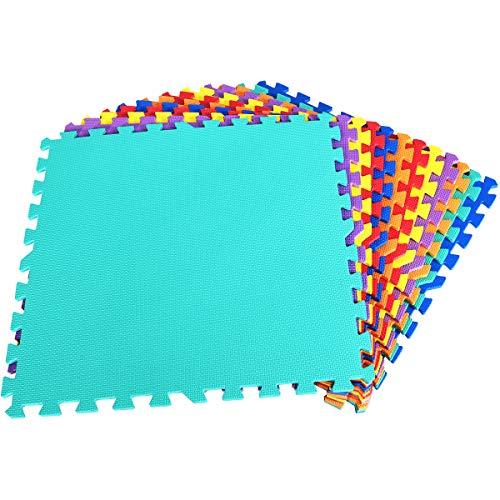 COSTWAY Schutzmatte 12 Stück, Bodenschutzmatte je 60x60x1,2cm, Puzzlematte aus Eva, Matte für Bodenschutz, Unterlegmatte Fitnessmatte Gymnastikmatte inkl. Randstück (Bunt)