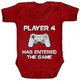 ShirtStreet Geek Nerd Strampler Bio Baumwoll Baby Body Kurzarm Jungen Mädchen Player 4 Has Entered The Game, Größe: 3-6 Monate,Red