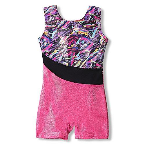 Gymnastic Leotards for kids 4t 5t girls biketards hot pink colorful ribbons unitards