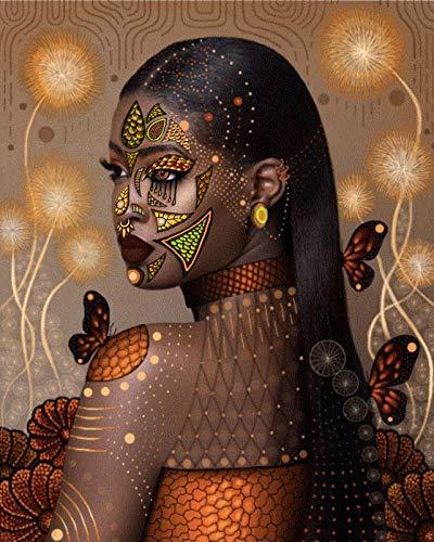 GIEAAO DIY Diamond Painting Completo Kits Mujer Africana, 5D Kit De Pintura De Cruz Diamante de Bordado Manualidades Para Decoración 30X40cm