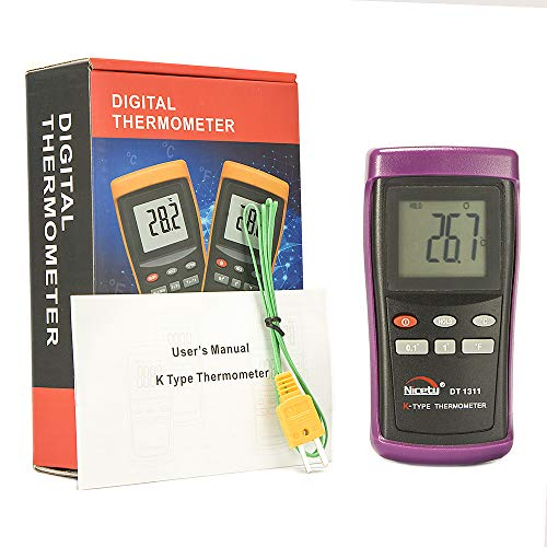 Digital K-Type Thermocouple Thermometer with 1 Sensor Wire Probe for HVAC and Industrial Use