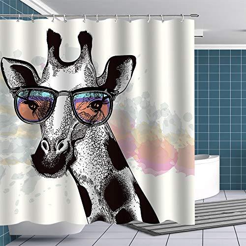 BTTY Premium Giraffe Shower Curtain Grey Fashion Noble Giraffe Wear Sunglasses Fabric Bathroom Curtain with Hooks Funny Shower Curtain Sets Novel Animal Bathroom Decoration Accessory 70x70Inches