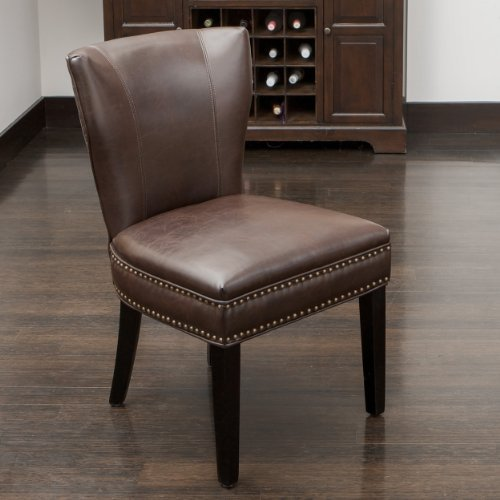 Christopher Knight Home Jackie Leather Accent Dining Chair, Brown