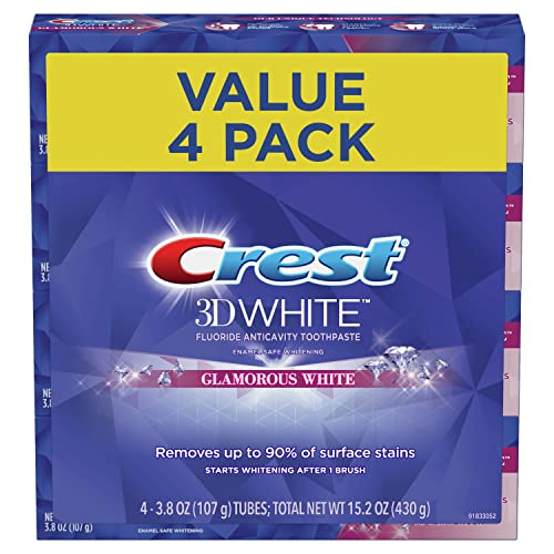 Crest Toothpaste 3D White Glamorous White, 3.8 oz (Pack of 4) (Packaging May Vary)