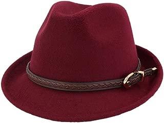 XinLin Du Women Men Fedora Hat With Punk Belt Winter Fascinator Casual Hat Jazz Hat