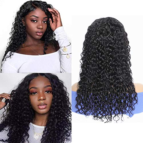 Lace Front Wig, Water Wave Wigs for Black Women HD Transparent Lace Front Wigs Human Hair 4x4 Lace Closure Curly Human Hair Wigs Pre Plucked Natural Hair with Baby Hair Wet and Wavy Black Wig 18 Inch
