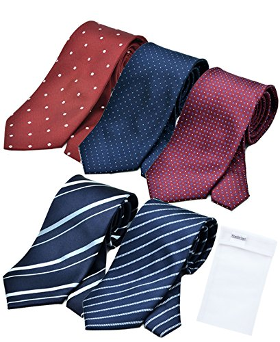 BUSINESSMAN SUPPORT(ビジネスマンサポート) 洗えるネクタイ 5本セット (ギフトボックス付) 洗濯ネット付き 5box-p2-a2b2c2d2k3