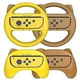 Switch Volante y Grip para Nintendo Switch, Volante Nintendo Switch, Agarres Para Manos para Mario Kart Juegos/Nintendo Switch Joy-Con Mandos, Kits de accesorios para Nintendo Switch pack de 4, Rosado
