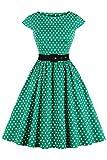 AXOE Damen Partykleider Rockabilly Kleid 50er Jahre Polka Dots mit Gürtel Grün Gr.48, 4XL