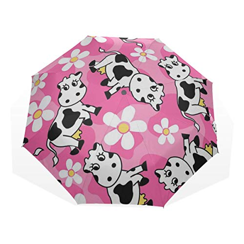 Boys Compact Umbrella Creative Cow Cartoon Animal Windproof Boy Travel Umbrella Rain & Wind Resistant Compact and Lightweight for Business and Travels