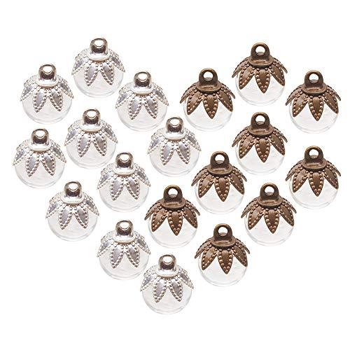 PandaHall Elite – 30 Perlas de Cristal Huecas con Perlas de Cristal sopladas a Mano con Perlas Redondas semiperforadas para la fabricación de Pendientes Colgantes con dijes Transparentes