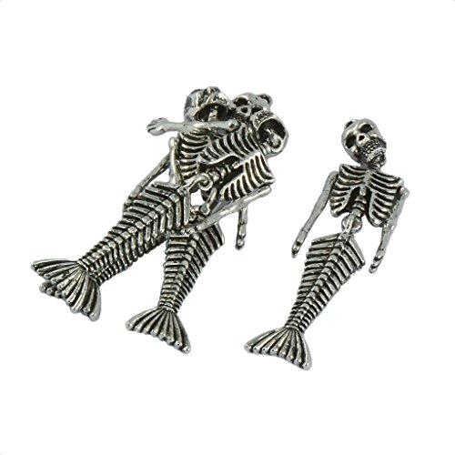 N\C 4 Piezas de Aleación de Plata Tibetana, Colgantes de Esqueleto de Halloween, Colgantes para Hacer Joyas, Collar de Bricolaje, Pendientes, Adorno Colga - 75x19 mm