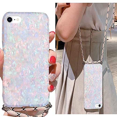 LLZ.COQUE Handykette Kompatibel mit iPhone 6/6S Hülle mit Band Handyhülle Muschel Case für iPhone 6/6S zum Umhängen, Silikon Hülle mit Schnur, Schutzhülle mit Kordel Mehrfarbig