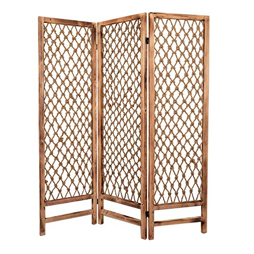 Check Out This 3 Panel Traditional Foldable Screen with Rope Knot Design Brown Modern Contemporary W...