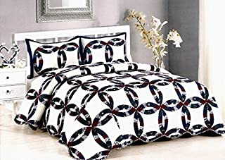 AHT Royal Wedding Ring - 3 Piece King Quilt Bedding Set (Includes King Size Quilt and 2 Standard Size Shams)