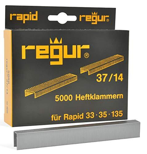 REGUR Type 37 V2A nietjes met fijne draad - 5.000 stuks in lengte 37/14 mm - roestvrijstalen nietjes voor het bevestigen van stoffen, leer, textiel en voor handwerk en decoratie
