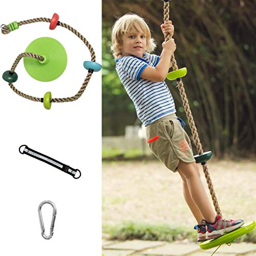 Multicolor Tree Swing Climbing Rope With Connect Strap & Carabiners Platforms Disc Swings Seat Adjustable Swing Set For Kids Adults Outdoor (Color : C)