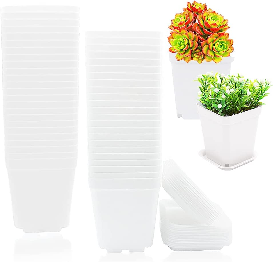 48 Pack White Plastic Plant Seedling Pots,Square Plants Nursery Pot,White Square Plastic Plant Pots with Saucer for Balcony,Pot Transplant,Garden,Home Decor