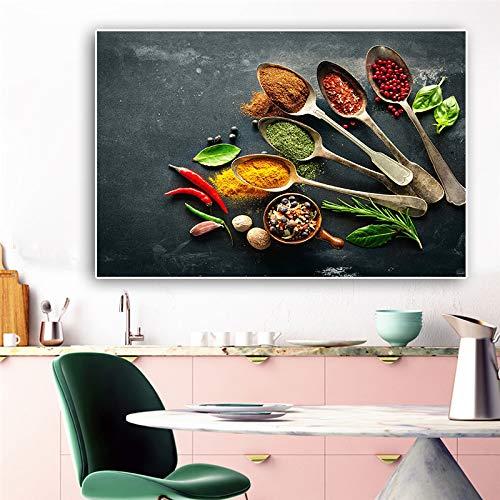Löffel Körner Gewürze Leinwand Malerei Grüne Pflanze Plakate und Drucke Wandkunst Küche Raumdekoration Kein Rahmen