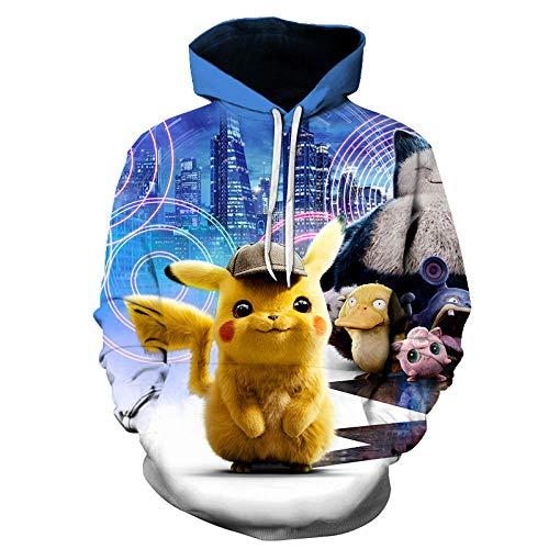 hjbjb Pokemon Detective Pikachu Hombres Mujeres Sudadera con Capucha 3D Estampado De Dibujos Animados Anime Pikachu Linda Sudadera-Wy-281_L