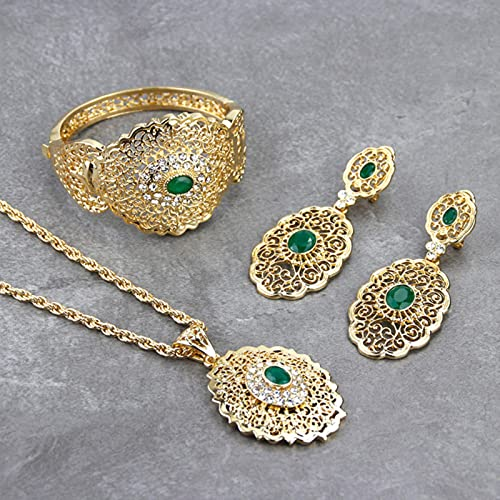 Conjunto de joyería de Boda de Marruecos, Pendiente de Gota de Color Dorado, Brazalete, Brazalete, Colgante, Collar, Regalo de Metal Hueco árabe