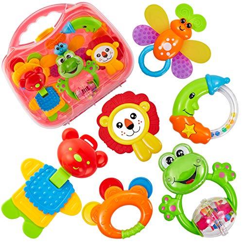 HERSITY Baby Rassel und Beißring Set mit Koffer Greifspielzeug Neugeborene Baby Spielzeug ab 3 6 12 18 Monaten Geschenk (6 stücke)