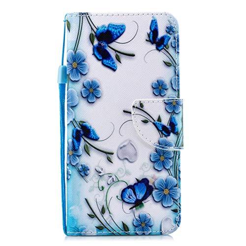 Gelusuk Kompatibel mit Samsung Galaxy A70 Handyhülle Schutzhülle Hülle Stoßfeste Bunt Retro Leder Handytasche Brieftasche Flip Wallet Case Leder Tasche Etui,Schmetterling:B