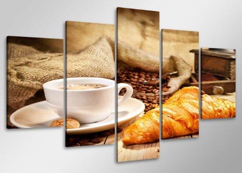 Visario Quadro su Tela caffè 100 x 50 cm 5 Tele Modello Nr XXL 6401. I Quadri Sono montati su telai di Vero Legno. Stampa Artistica intelaiata e pronta da Appendere