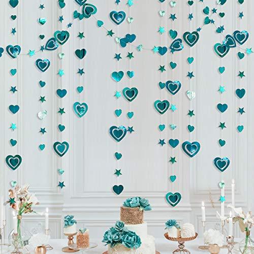 40 Ft Valentine's Day 3D Dark Green Heart Star Garland Metallic Indigo Paper Hanging Streamer Banner for Anniversary Engagement Wedding Bridal Shower Bachelorette Birthday Party Decorations (4 Packs)