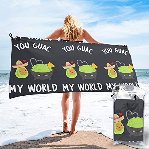 Buildterial You Guac My World Outdoorsquick Dry Towel, Microfiber Super Absorbent Lightweight Towel for Swimmers, Bath Towels for Adults, Pool, Water Sports
