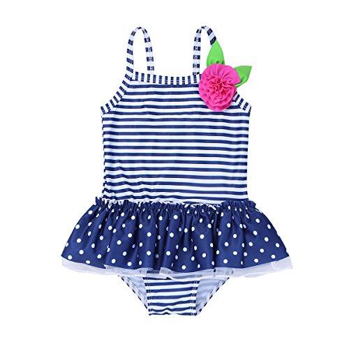 inhzoy Baby Mädchen Badebekleidung Einteiler Badeanzug Gestreift One Piece Tankini Bikini Bademode Polka Dots Schwimmanzug Gr. 62 68 80 86 92 98 Navy Blau 92-98/2-3 Jahre