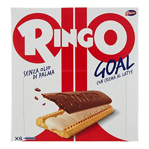 Pavesi Ringo Goal Biscotto con Ripieno al Latte e Copertura di Cioccolato per Snack Dolce e Gustoso per la Merenda - Confezione da 6 snacks - 168 g