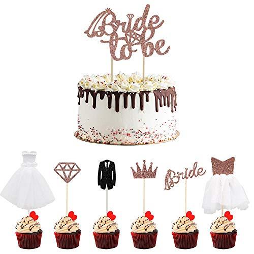 CCUCKY Bride to be Cupcake Toppers, 7 Modèles Différents de Décorations de Cupcake Paillettes pour Douche Nuptiale, Fiançailles de Mariage, Décor de Dessert