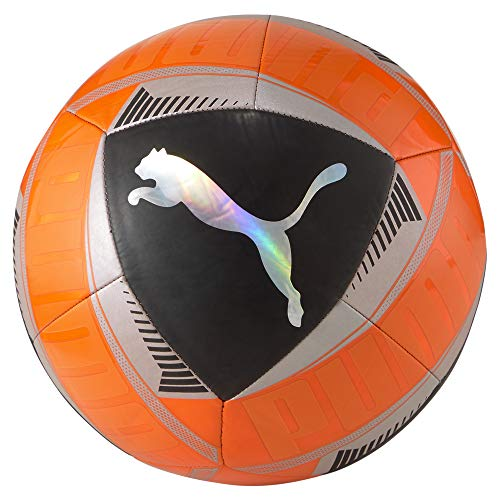 PUMA Icon Ball Balón de Fútbol, Unisex-Adult, Shocking Orange Black Silver, 5