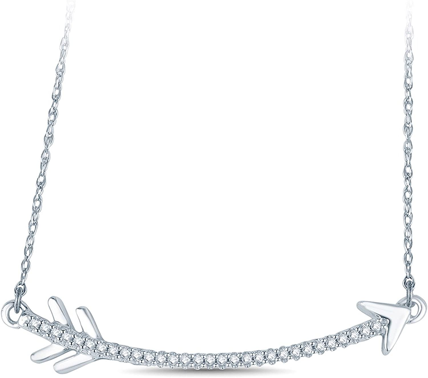 1 10 cttw Cupid's Curved Arrow Diamod Pendant Necklace in 10k White gold, (IJ, I2I3)18