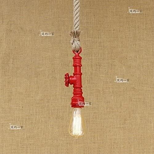 Lámpara colgante colgante - Retro Iron Industrial Tubería de agua Chandelier Crode Cuerda Colgante Luz Vintage Restaurante Decoración Lámpara de techo Cafetería Barn Warehouse Cocina ( Color : Red )