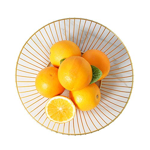 Gold Metal Wire Fruit Basket Fruit Bowl, Large Round Bowl Storage for Vegetables, Snacks, Bread and so on, Modern Home Decorative, for Kitchen, Dining room, Living Room and Pantries