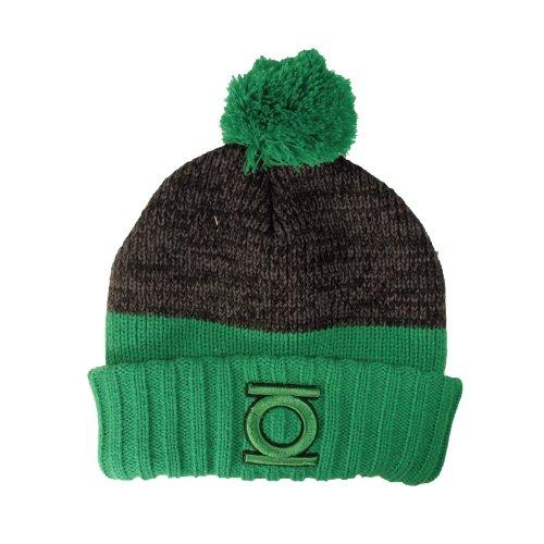 Green Lantern Logo Bommel Mütze Pudel Mütze von DC Comics doppellagiger Strick grün-grau