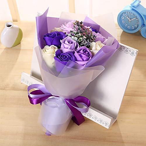 Tolyneil Jabón Bouquet de Flores, Artículos para el hogar Decoración de Flores Artificial Jabón Flor Rosa Ramo Día de la Madre Regalos creativos Regalo de San Valentín (Morado)