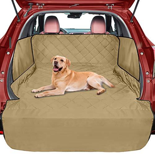 FunniPets Cubierta de carga para perros, impermeable para SUV, Sedán, funda de asiento de mascotas con solapa lateral y solapa de parachoques, respaldo antideslizante, ajuste universal, color caqui