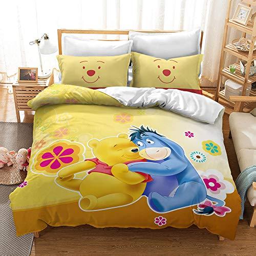 Enhome Duvet Cover Bedding Set for Double Single King Size Bed, 3D Yellow Cartoon Bear Print Microfiber Duvet Set Quilt Case with Pillowcases (Pooh Bear-Eeyore,200x200cm)