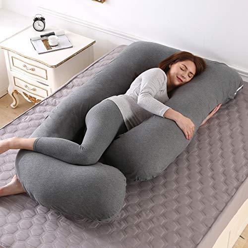 Almohada de Embarazo, Almohada Embarazada Dormir en Forma de J, Multifuncional Embarazo Almohada de Cuerpo Completo para Soporte de Vientre/Caderas/Piernas/Espalda, Extraíble Lavable (Gris oscuro)